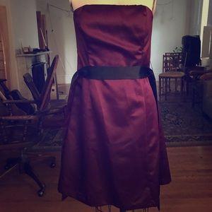 Robin Jordan burgundy strapless satin formal dress